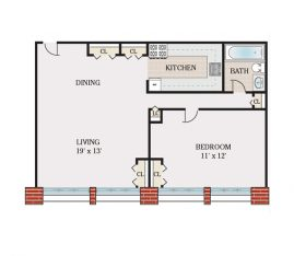 Standard 1 Bedroom 1 Bath. 750 sq. ft.