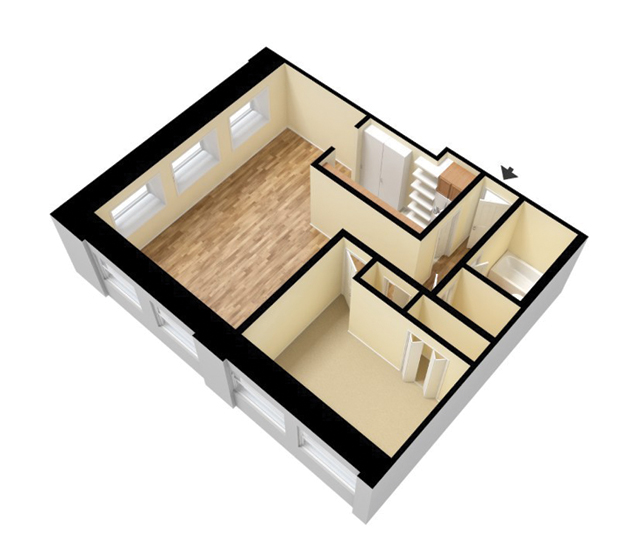 3D Standard 1 Bedroom 1 Bath. 750 Sq. Ft. Unfurnished