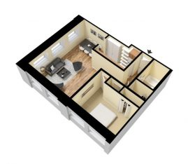3D Standard 1 Bedroom 1 Bath. 750 sq. ft. Furnished