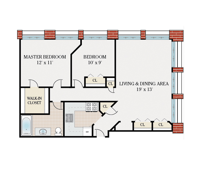 3 Distinctly Themed Apartments Under 800 Square Feet With Floor Plans: 750 Sqft 2 Bedroom Apartment