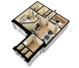 3D 1 Bedroom 1 Bath with Den. 860 sq. ft. Furnished