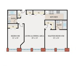 Standard 2 Bedroom 2 Bath. 1050 sq. ft.