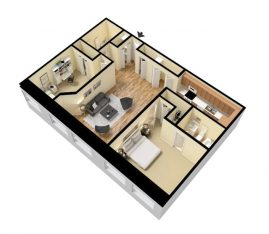 3D Standard 2 Bedroom 2 Bath. 1050 sq. ft. Furnished